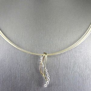 Jewelry - Diamond Necklace Pendant 18K Multi Tone Gold .54Ct